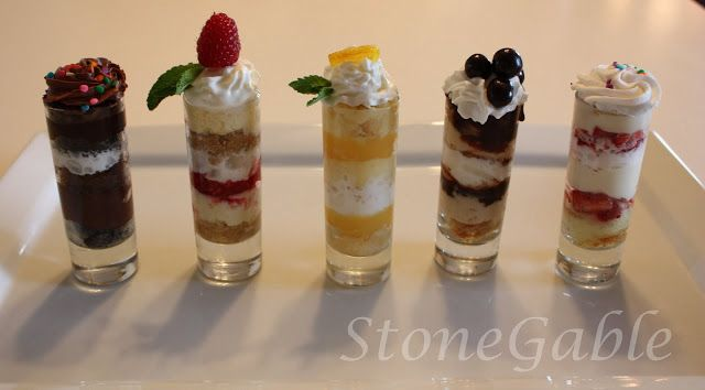 Mini Dessert Shooters: Chocolate Mini Cupcake Shooter, Raspberry Cheesecake Shooter, Lemon Shortbread Shooter, Tiramisu Shooter, Strawberry Shortcake Shooter