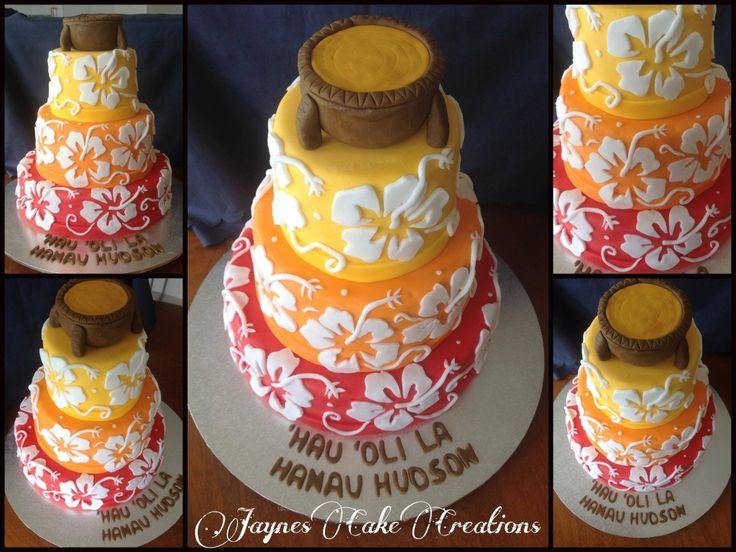 HAWAIIAN THEMED CAKE WITH KAVA BOWL ON TOP..