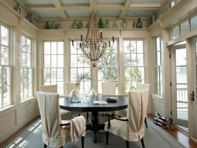 Who doesn't love rooms surrounded with windows?: Breakfast Rooms, Dining Rooms, Houses, Breakfast Nooks, Window, Interiors Design, Shelves, Coastal Living, Sunroom