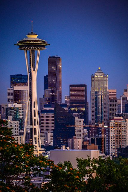 Seattle Skyline with Space Needle at Night from Kerry Park - Seattle Washington