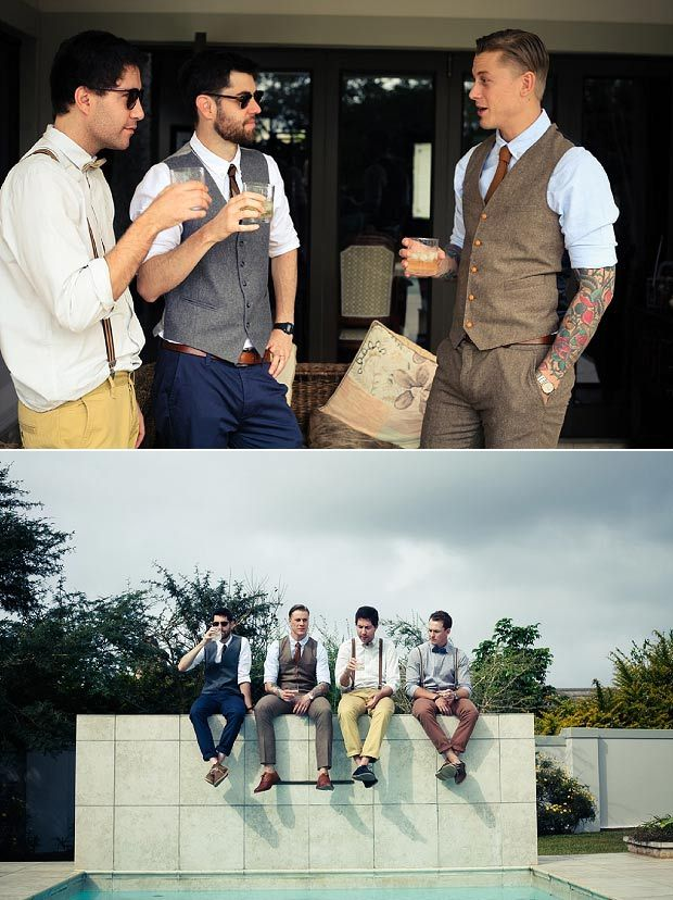 Wonderful wedding in Durban beach, South Africa. Rhys & Kelly in Alabama wedding dress.  The groom and the groomsmen. We've fallen in love with their casual and stylish look, the authentic gentlemen style.