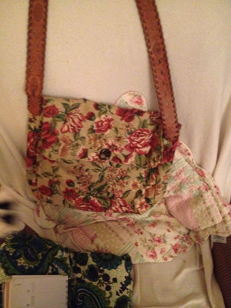 Handmade floral bag. Old belt for strap.