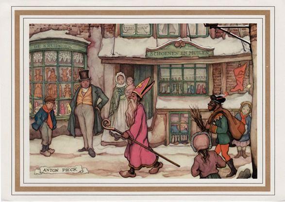 Anton Pieck. Sinterklaas en Zwarte Piet.
