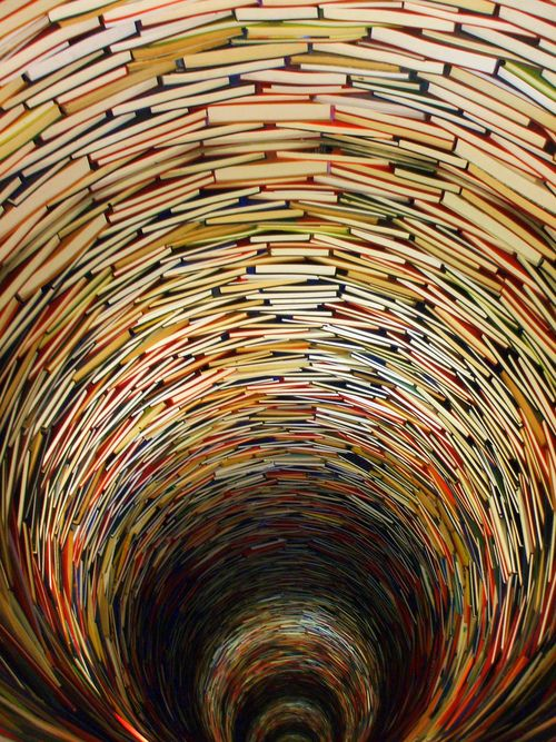 The Infinity of Knowledge. The Prague Municipal Library at Marianske Square, Prague, Czech Republic is definitely worth visiting because of an amazing sculpture made of numerous books by Matej Kren, a young Czechoslovak artist. This wonderful sculpture is placed in the Prague Municipal Library, consisting of books and mirrors, creating an unusual effect of infinity.