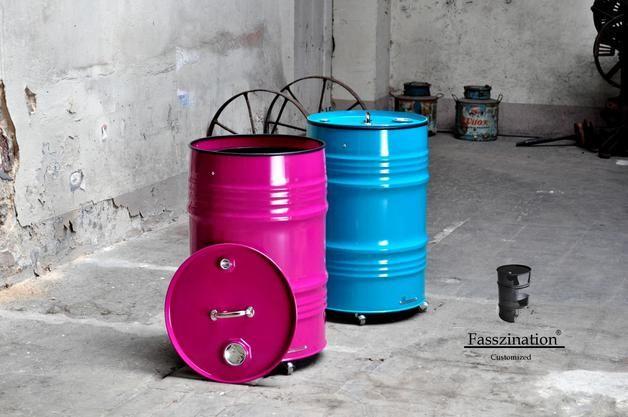 Originelle Mülltonne aus 60-Liter-Metallfass
