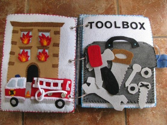 Felt Activity Book - Fire Engine (hose, ladder and flames movable) and Toolbox