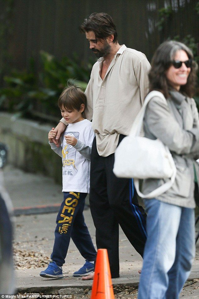 Colin Farrell on the set with his son Henry
