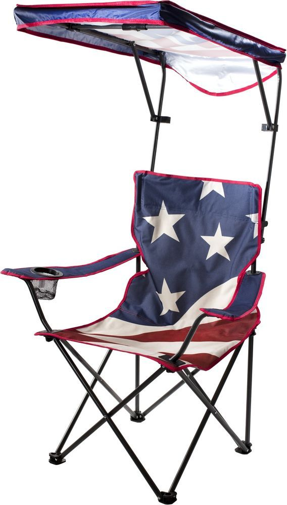 Lawn Chair Folding Chairs With Canopy Beach Camping Outdoors Travel Bag New QS