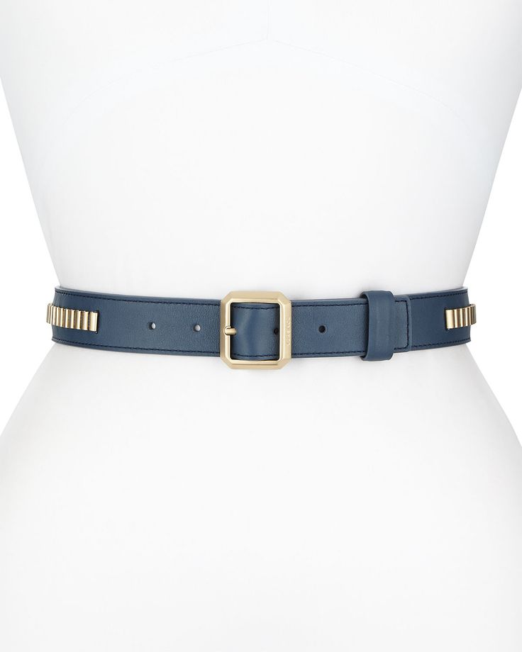 Ladies Leather Belt With Met, Blue/Gold - Versace