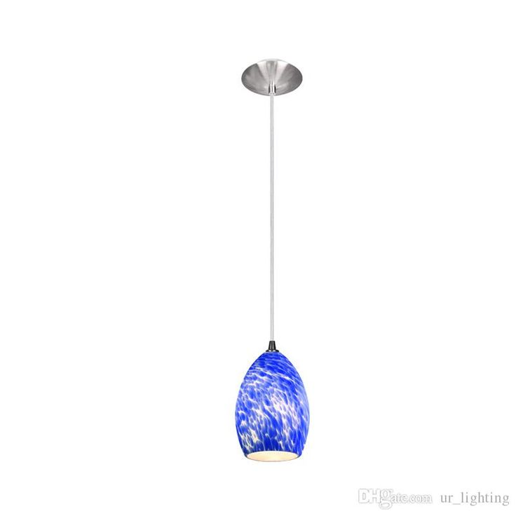 Ur Lighting 5103e1bf 1 Chrome Satin Nickel Blue Frit Egg Light Led Mini Pendant