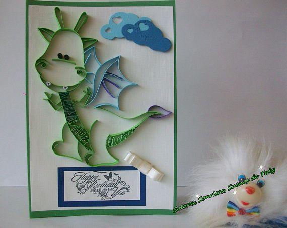 Happy Birthday Dragon Card Handmade Fantasy Card Animal