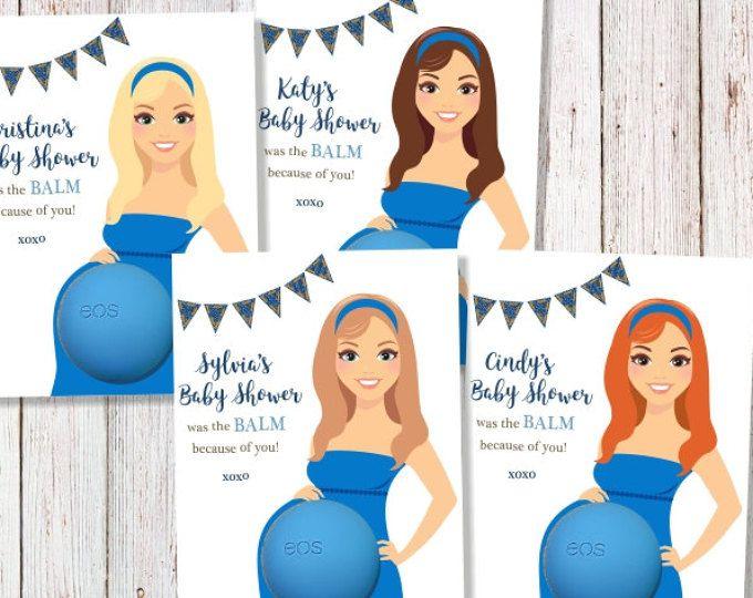 Favorece la EOS bebé ducha favores labio bálsamo regalo personalizado etiquetas muchas gracias muchacho del dril de algodón azul arándano partido Acai EOS mamá embarazada para ser imprimible