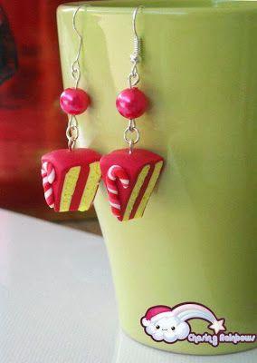 Collezione Profumo di neve - Orecchini Torta Candy Cane #xmas #kawaii #cute #sweet #handmade #jewels
