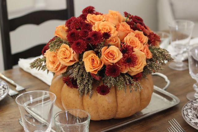 "Jenny Steffens Hobick: DIY Thanksgiving Centerpiece | Roses, Mums & Broom Cob in a Pumpkin ""Vase"""