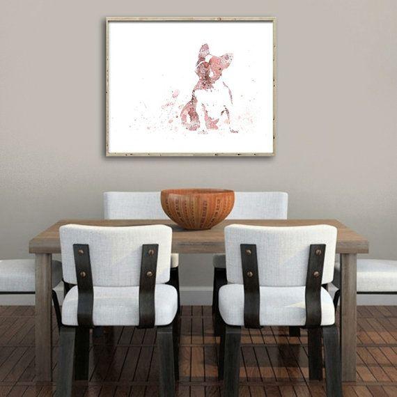 Watercolor Art Print French Bulldog Painting Home Wall by QPrints
