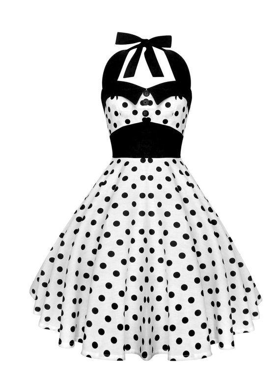 White Polka Dot Dress Black Polka Dot Vintage Dress Pin Up Dress ...