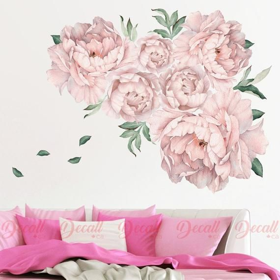 Soft Pink Peony Flower Wall Stickers Vintage Watercolour Peel