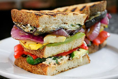 Grilled Vegetable and Goat Cheese Sandwich by ezrapoundcake #Sandwich #Grilled_Vegetable #Goat_Cheese