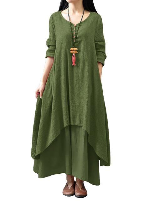 7a53d5b9053 2018 Spring Autumn Maxi Dress Women Casual Loose Dress Solid Long Sleeve  Cotton Retro Boho Long Dress Plus Size Retro Robe Femme