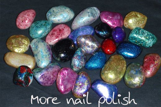 Rocks painted with nail polish -- very cool idea!    About the only dang thing I /could/ paint with nail polish.
