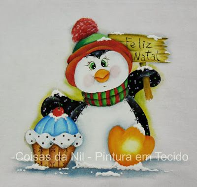 penguin with cupcake painted on cloth canopy