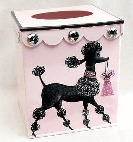 Retro Vintage Tissue Holder ~ Tissue Box Cover ~ Tissue Box Holder ~ Kleenex Holder E58 ~ Shabby Chic Pink Enamel with French Vintage 50's Poodle Art