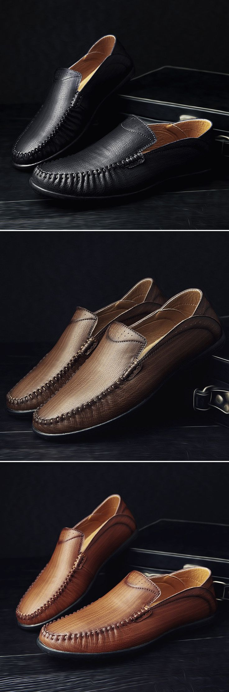 Men Vintage Breathable Flat Slip On Leather Business Casual Shoes