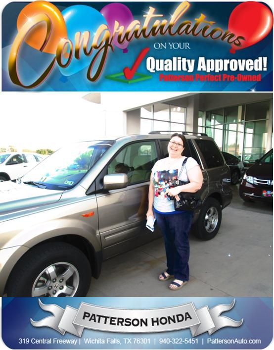 Congratulations Crystal Flinn on your new pre-owned Honda Pilot. - From Jeff Havins at Patterson Honda.