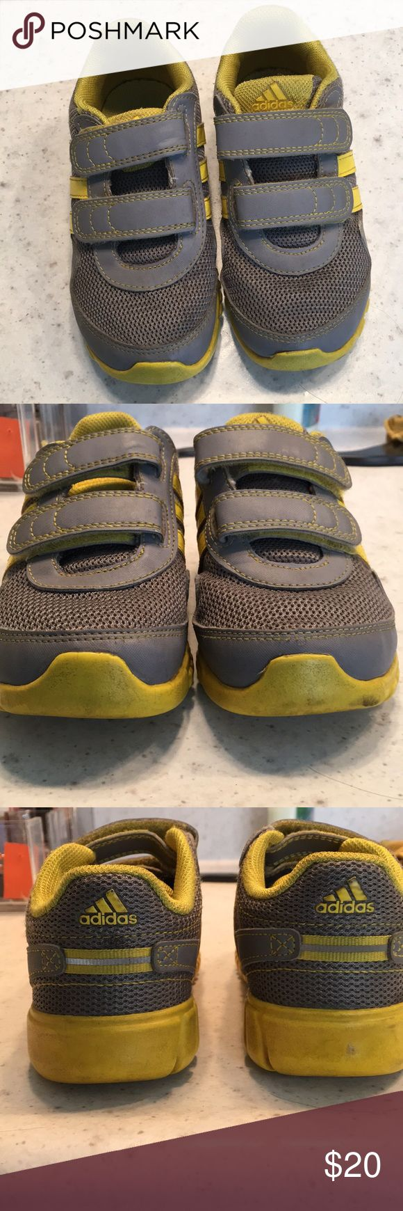 Toddler boys Adidas tennis shoes Great used condition. Scuffs around bottom edges and some dirt wear but upper part in excellent shape. Plenty of wear left. Smoke free and pet free home. adidas Shoes Sneakers