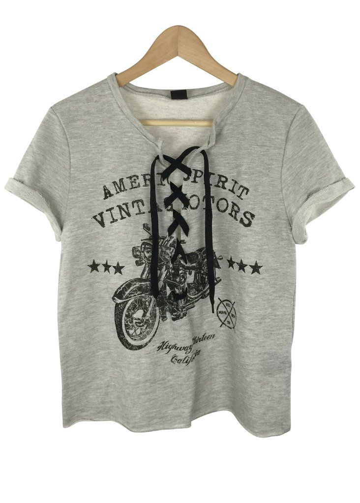 american vintage lace up top