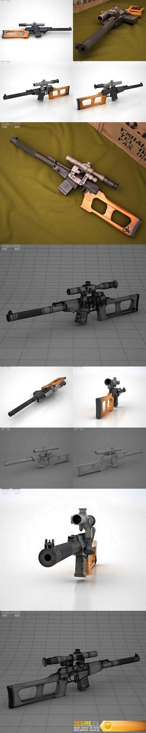 VSS Vintorez 3D model  http://www.desirefx.me/vss-vintorez-3d-model/