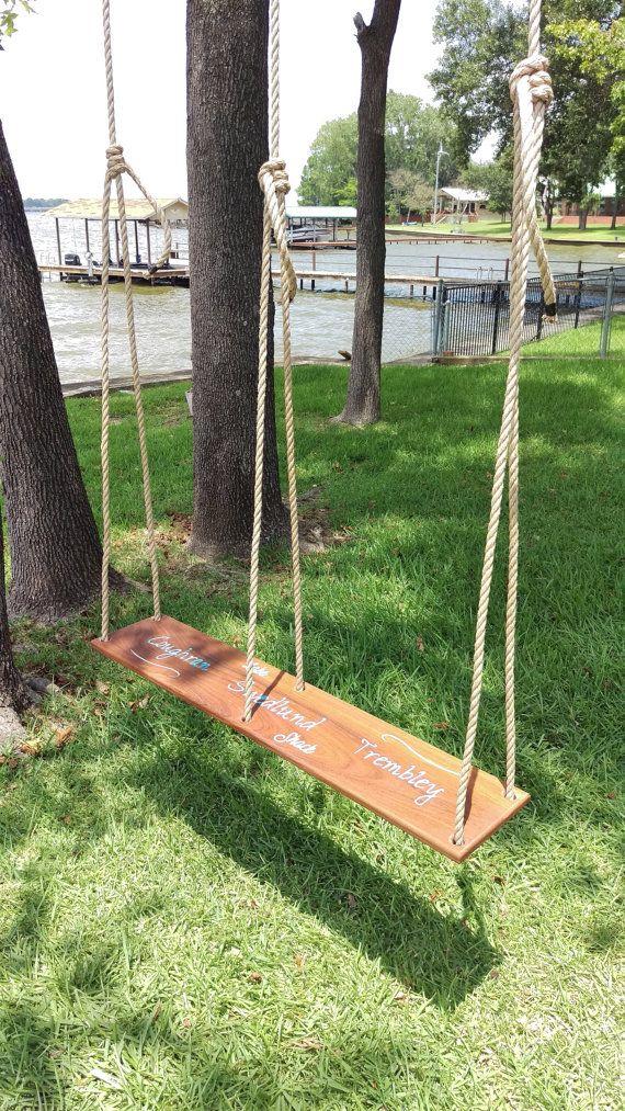 Engraved Double Seat Rope Tree Swing Custom Brazilian