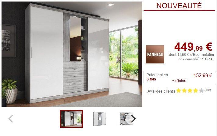 armoire bodil gris portes coulissantes