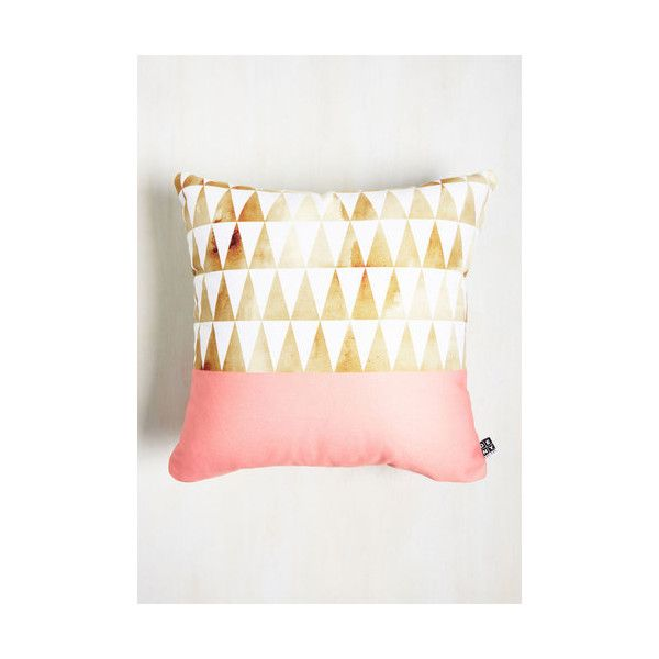 Point Taken Pillow (52 CAD) ❤ liked on Polyvore featuring home, home decor, throw pillows, bedding, multi, sheets - basics, pink toss pillows, gold throw pillows, pink throw pillows and gold accent pillows