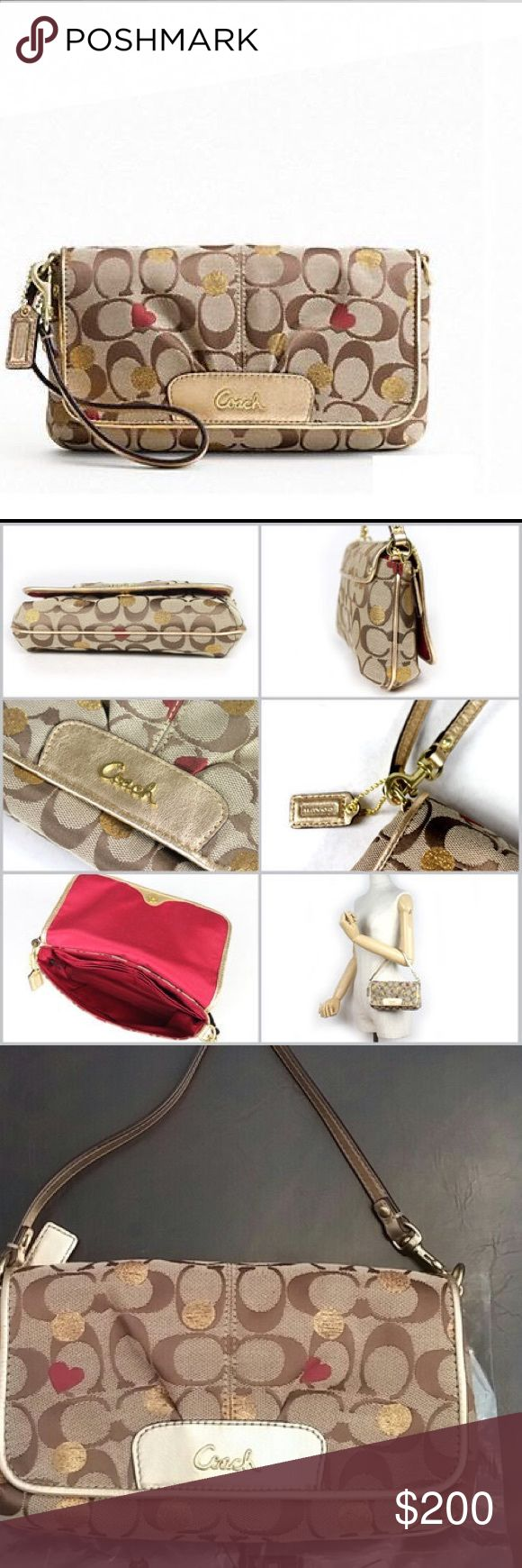 """NWOT coach secret admirer large flap wristlet Brand new .....Signature fabric with leather trim Inside multifunction pockets Flap closure, fabric lining Strap with clip to form a wrist strap or attach to the inside of a bag 8 1/2"""" (L) x 4 3/4"""" (H) x 1 1/2"""" (W) Coach Bags Clutches & Wristlets"""
