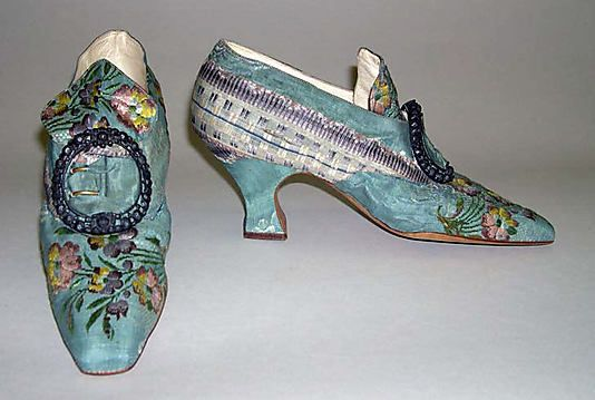 Slippers  Hellstern and Sons  (French)  Date: 1911  Culture:French  Medium: silk, leather  Couldn't resist this pair of early 20thC slippers that pay homage to the 18thC