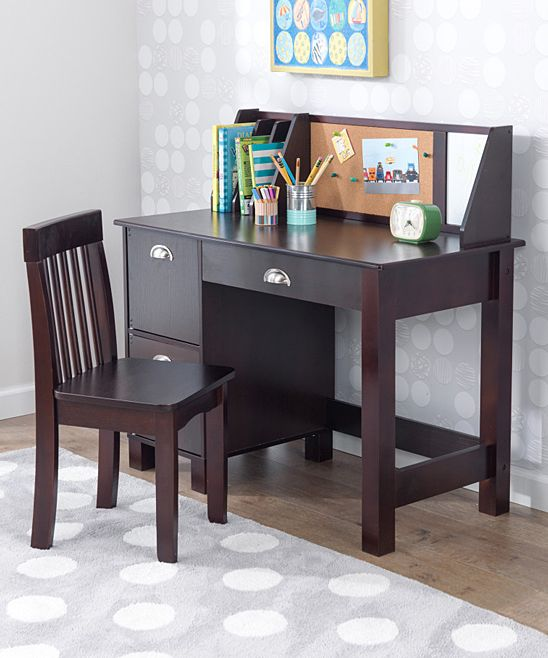 Kidkraft Espresso Three Piece Study Desk Chair Set Zulily Kids Study Desk Best Home Office Desk Desk