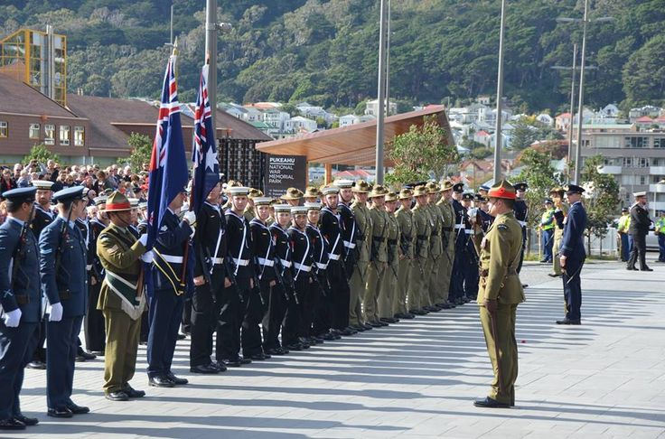 The Honour Guard of New Zealand and Australian service personnel at the Anzac Day National Commemorative Service.