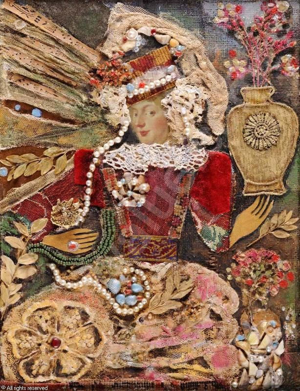 PARAJANOV Sergej, 1924-1990 (Armenia)  -   Lady with a Vase with Flowers, Collage with mixed media, paper and textile on panel