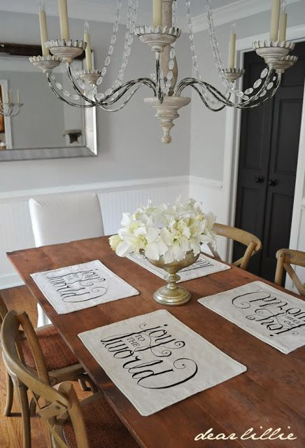 Dear Lillie: Joy to the World Placemats and Thermals