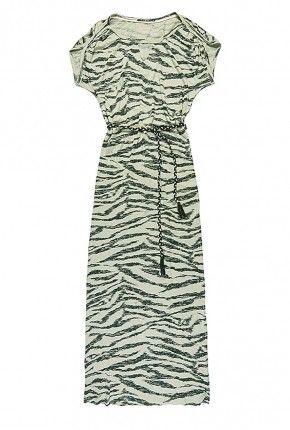 licht groene maxi dress met zebra print