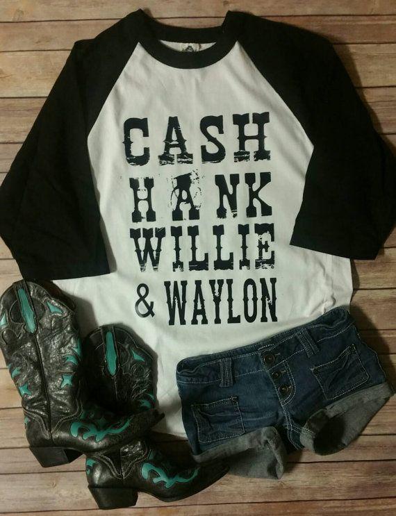 Cash Hank Willie & Waylon Raglan Shirt  by JesusandGypsySoul