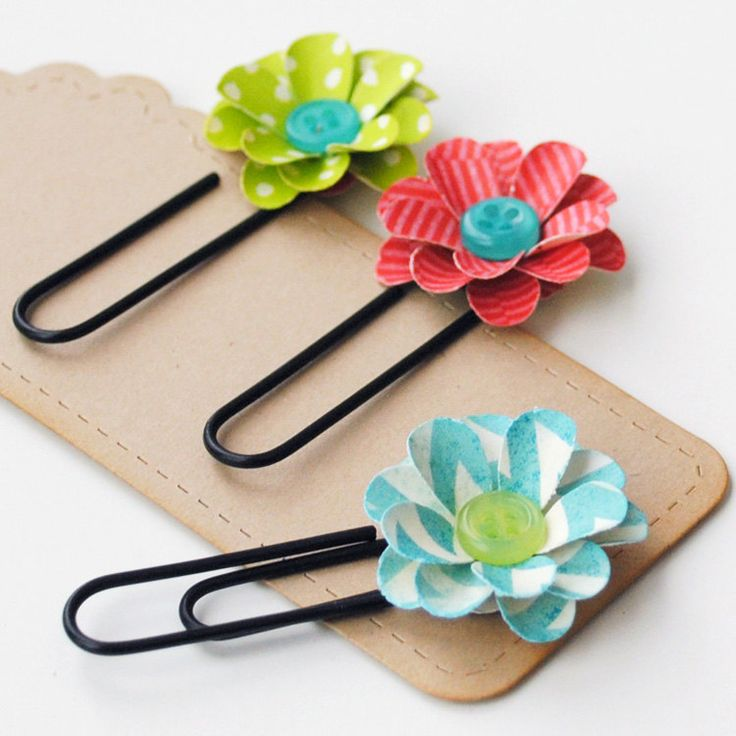 3 Handmade FLORAL PAPER CLIPS - Bookmarks, Office Clips, or Scrapbook Embellishment. $3.25, via Etsy.