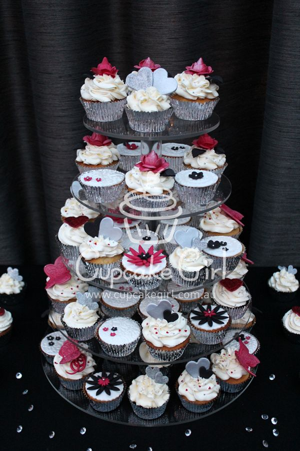 Black, Silver, Red Theme Cupcakes