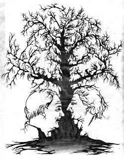 Black-White Tree Optical illusion picture in picture