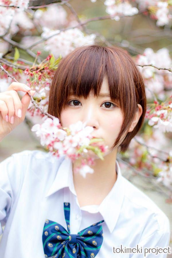楠ろあ | 風舞う桜と制服女子