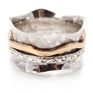 Sterling Silver And Bronze Spinning Ring $76.51
