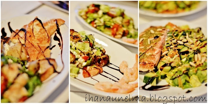 Chicken salad, shrimp salad and smoked salmon salad. take your pick :) Yummy!
