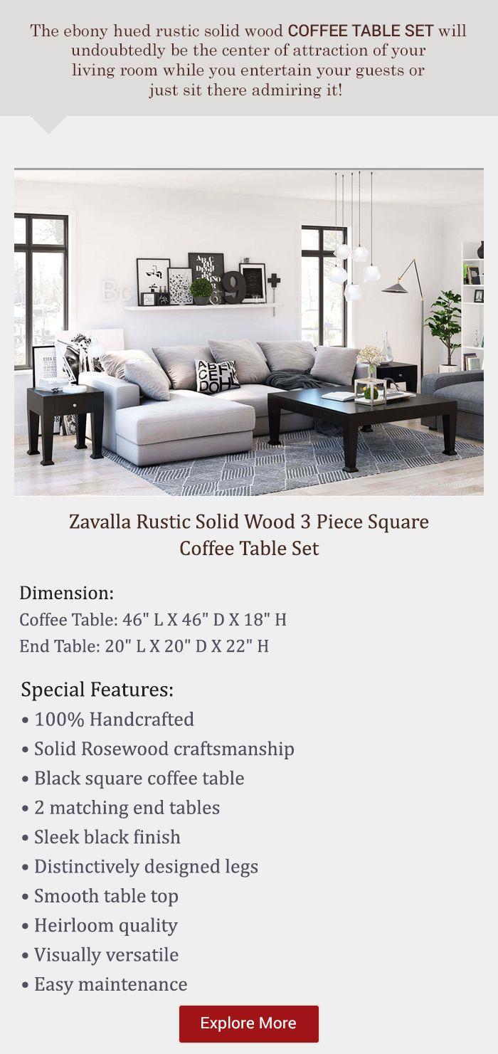 Zavalla Rustic Solid Wood 3 Piece Square Coffee Table Set Coffee Table Square Coffee Table Setting Black Square Coffee Table [ 1481 x 700 Pixel ]