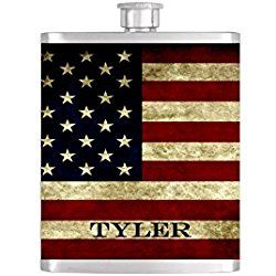 USA Rustic Flag Personalized Groomsman Wedding Party Flasks with FREE Funnel - Flask#52